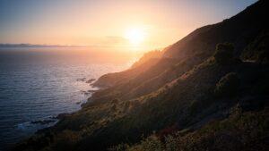 Rugged coastline at sunset